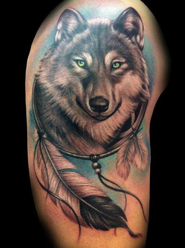 Meilleur tatouage de loup pour hurler sur la lune 80