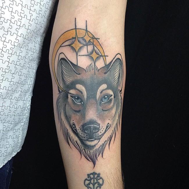 Meilleur tatouage de loup pour hurler sur la lune 72
