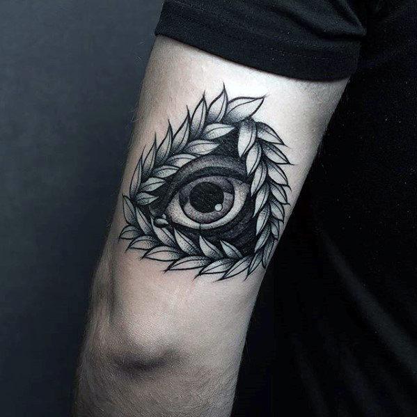 Oeil botanique de tatouage bras Providence
