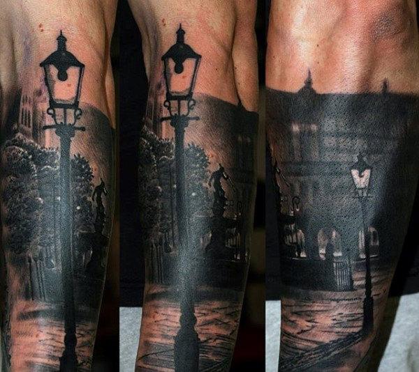 Tatouage de manche avant-bras Cityscape