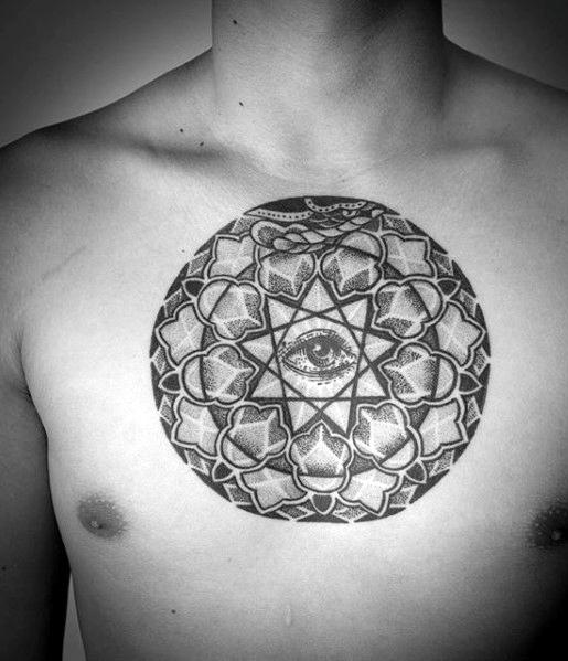 Oeil géométrique dotwork de tatouage de poitrine Providence