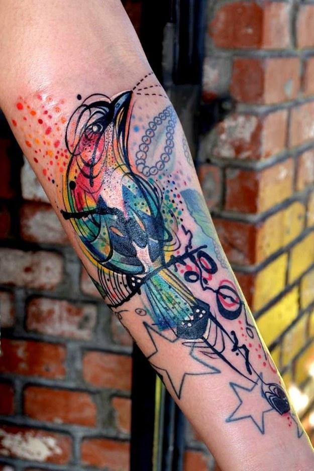 Dessins fantastiques de tatouage coloré
