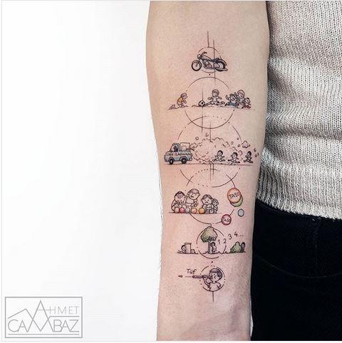 Tatouage avant-bras sur le thème de dessin animé géométrique