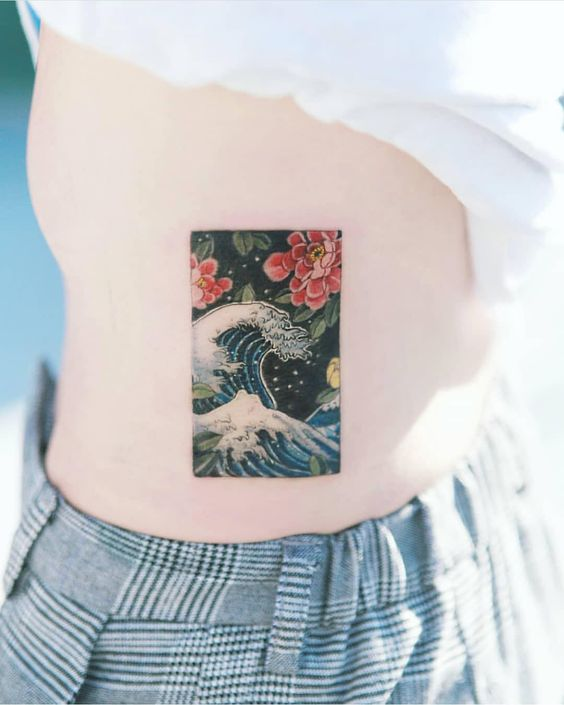 Grande vague au large de Kanagawa côté tatouage