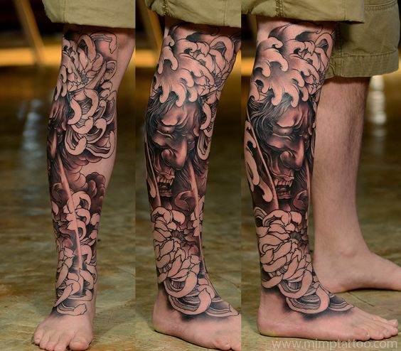 Tatouage de jambe de samouraï japonais
