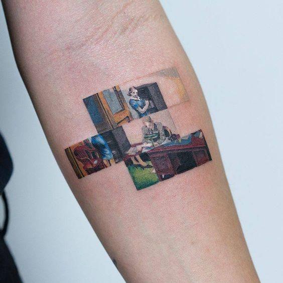 Bureau de nuit tatouage encadré segmenté
