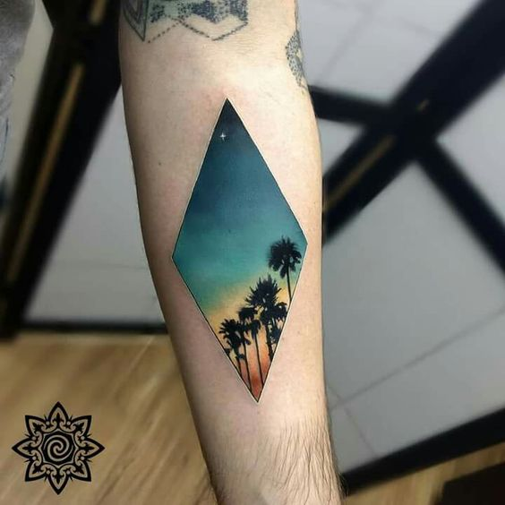 Tatouage avant-bras Palm Trees Lane