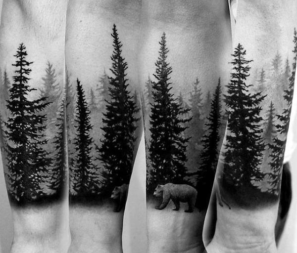 Tatouage avant-bras de la forêt de pins