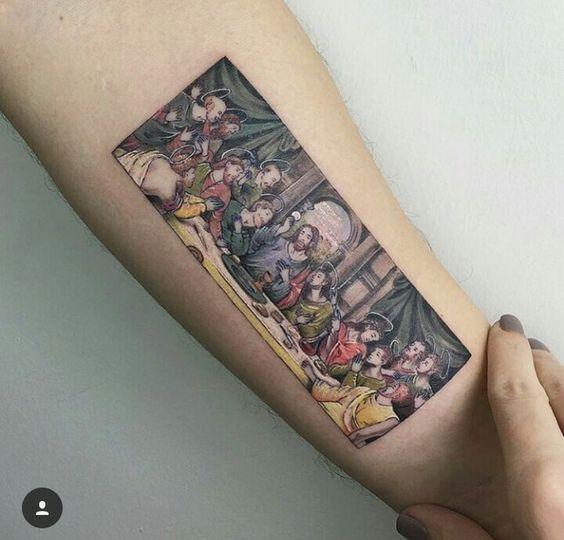Tatouage avant-bras de la dernière cène