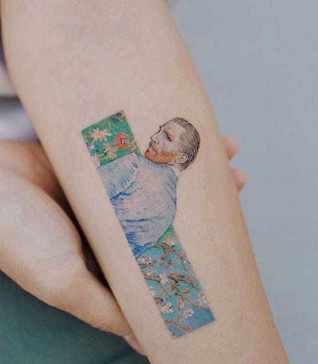 Tatouage de bras portrait de Van Gogh
