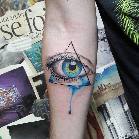 Tatouage Aquarelle Oeil de Providence Bras