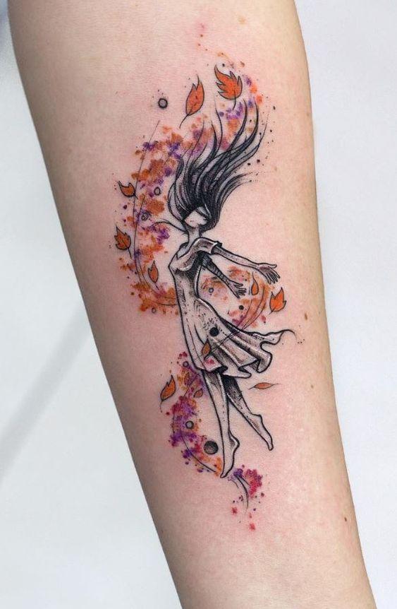 Tatouage d'avant-bras automne aquarelle