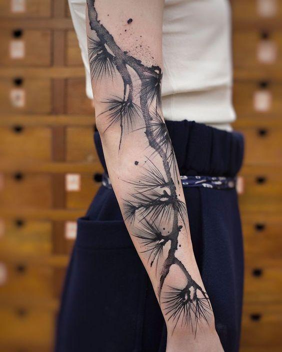 Tatouage de manche de tige gris aquarelle