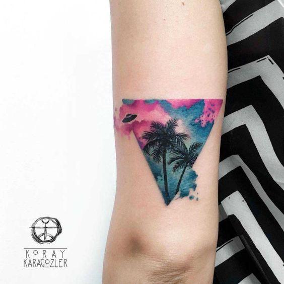 Tatouage de bras de paume aquarelle