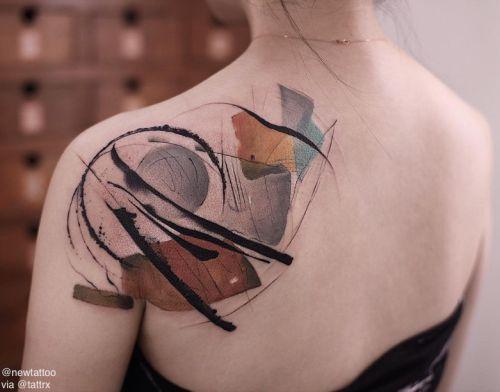 Aquarelle Formes Dos Tatouage