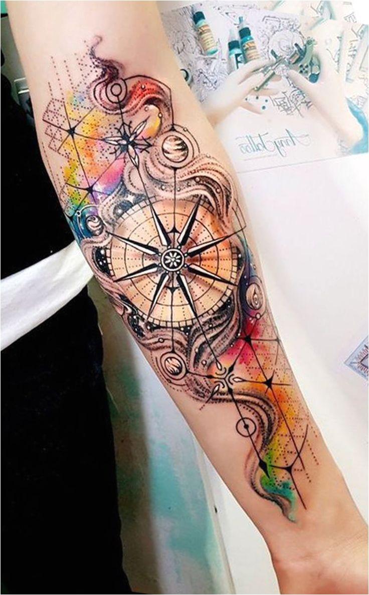 Aquarelle passant des idées de tatouage de forarm intérieur pour les femmes avant-bras boussole idées de tatouage