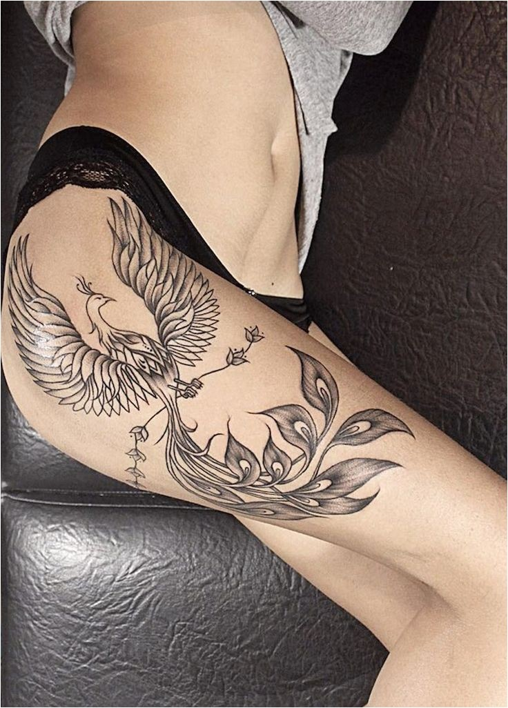 Tatouage femme Phoenix - sens des lieux et des idées en photos