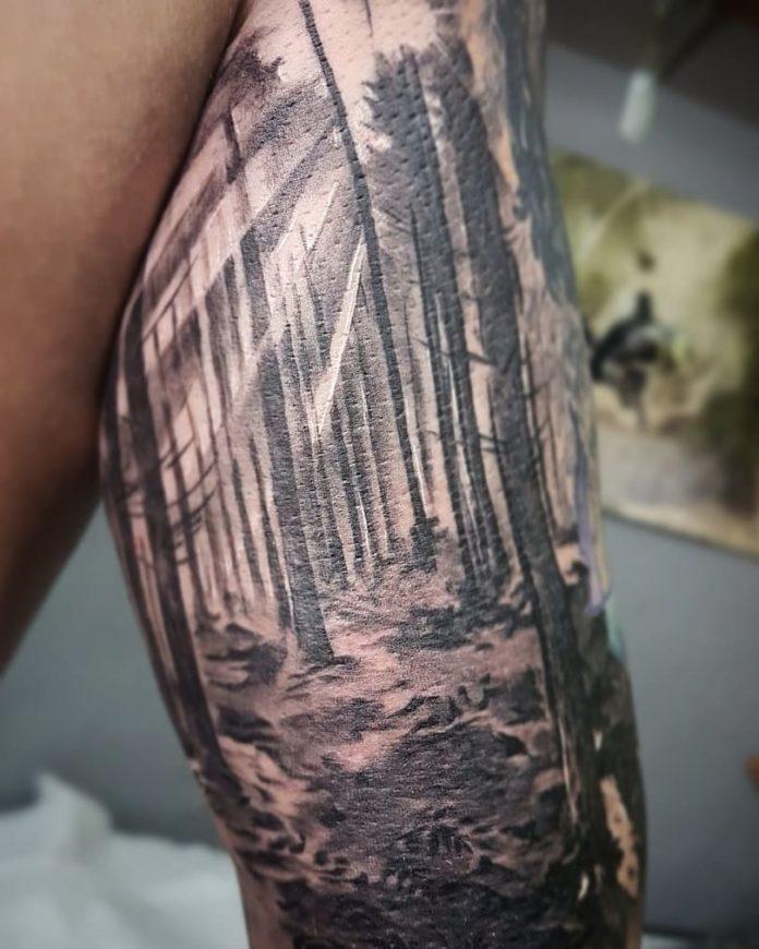 12 5-40 tatouages de forêt pour hommes