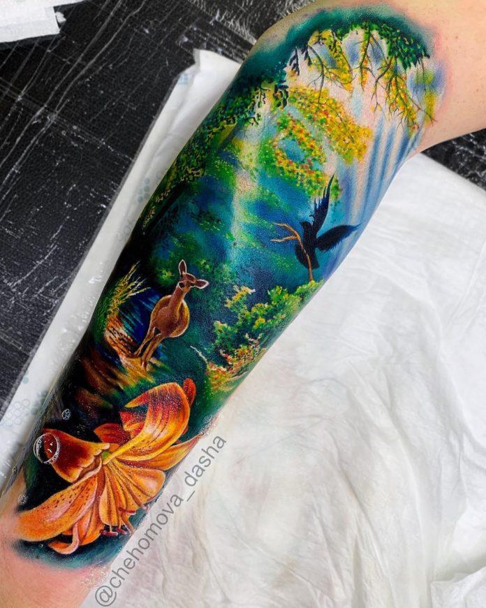 2 8-40 tatouages de forêt pour hommes
