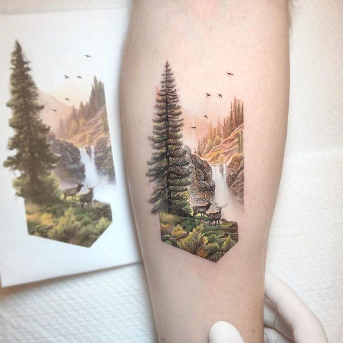 23 7-40 tatouages forestiers pour hommes