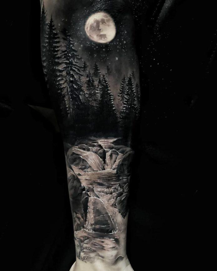 tatouage forêt pour hommes