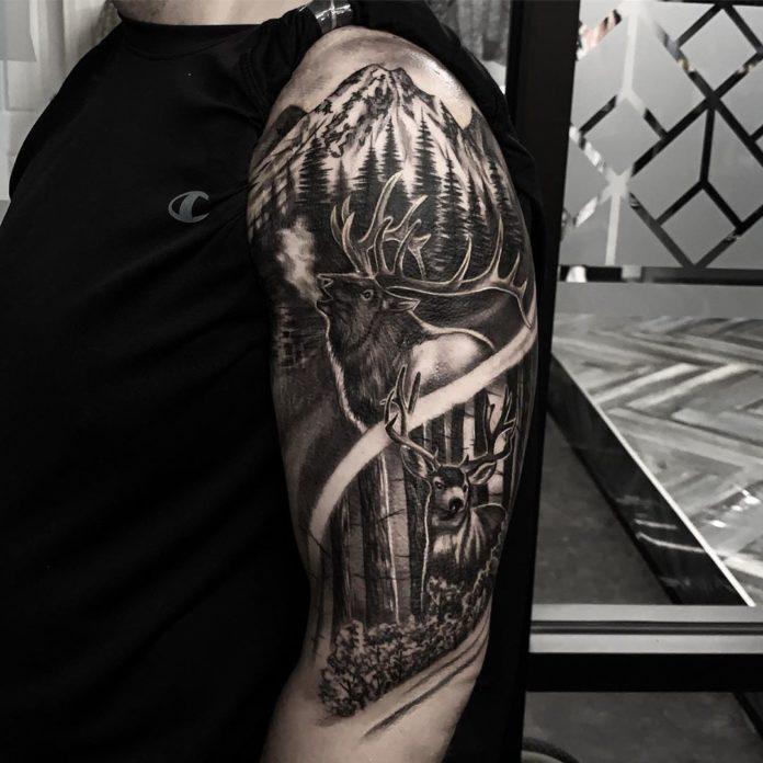 33 7-40 tatouages de forêt pour hommes