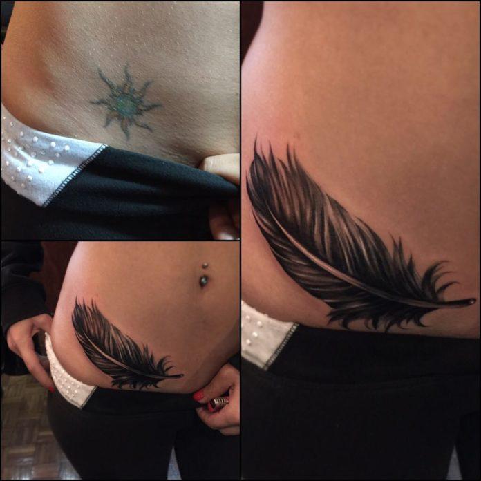 9 10 - 40 tatouages de plumes pour les femmes