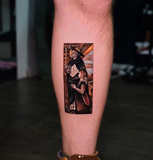 Tatouage de jambe inspiré de la peinture classique