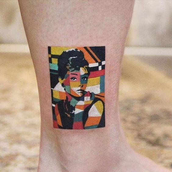 Tatouage Technicolor Portrait de Hepburn