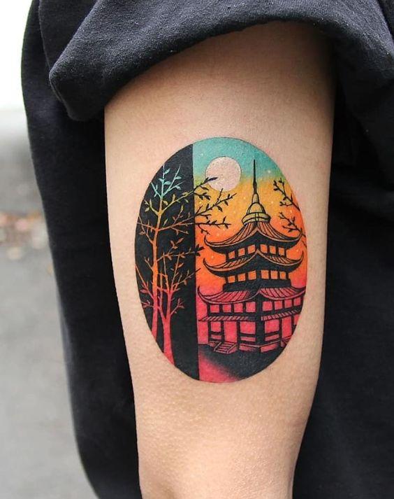 Tatouage de bras sur le thème coréen