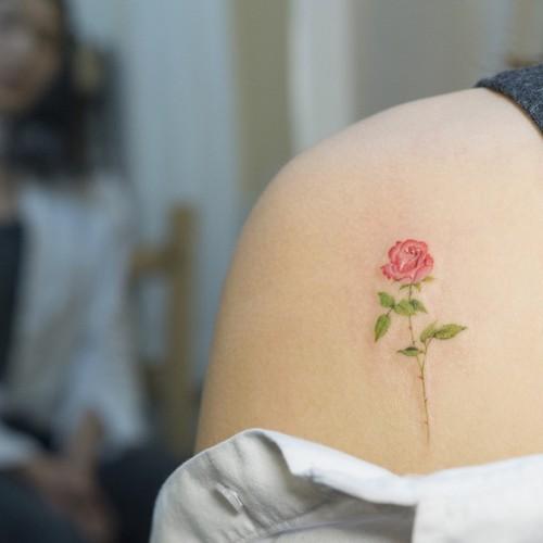 tatouage d'épaule de rose rouge